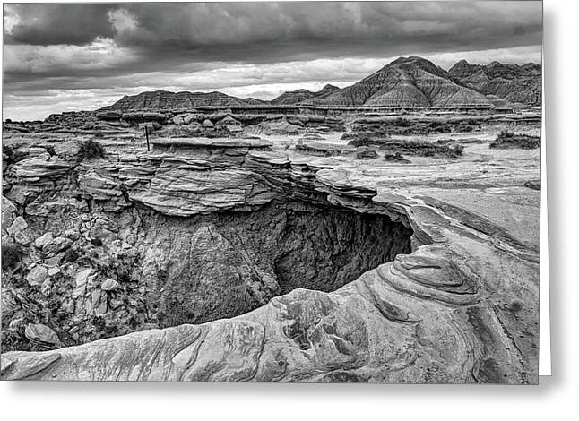 The Overhang - Black And White - Toadstool Geologic Park Greeting Card
