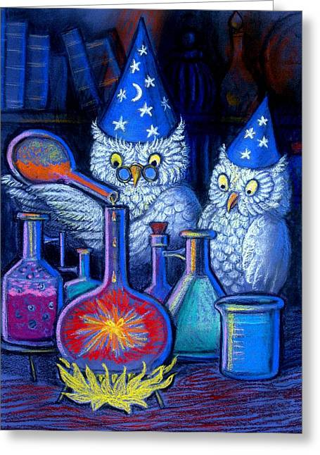 Fantasy Owl Greeting Cards - The Owl Chemists Greeting Card by Sue Halstenberg