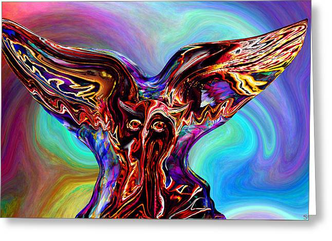 The Owling Sound Of Colors Greeting Card by Abstract Angel Artist Stephen K