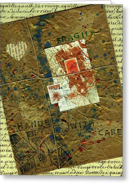 Greeting Card featuring the mixed media The Package by P J Lewis