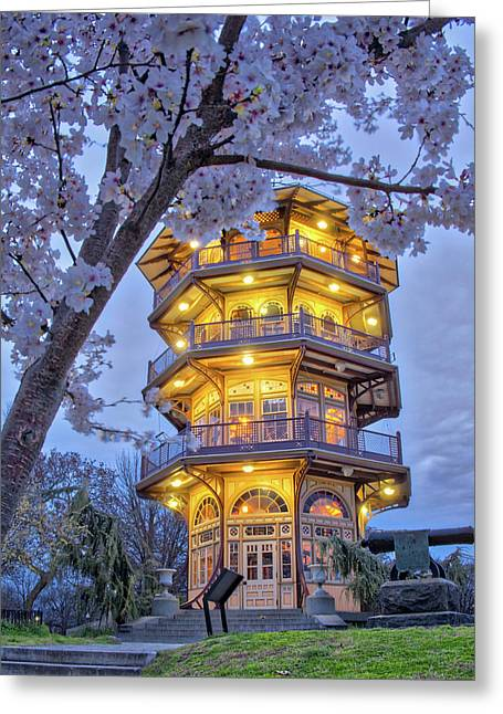Greeting Card featuring the photograph The Pagoda In Spring At Blue Hour by Mark Dodd