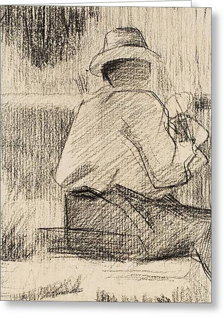 The Painter And His Palette Greeting Card by Georges Pierre Seurat