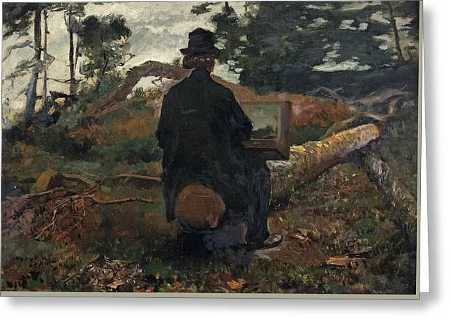 The Painter Frederik Hendrik Kaemmerer At Work In Oosterbeek Greeting Card