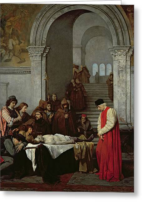 The Painter Luca Signorelli Standing By The Body Of His Rival's Dead Son Greeting Card