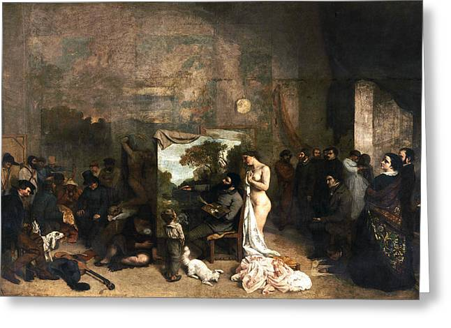 The Painter's Atelier Greeting Card by Gustave Courbet