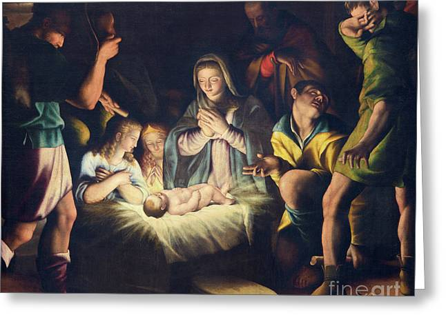 The Painting Of Nativity By Pier Maria Bagnadore Greeting Card by Jozef Sedmak