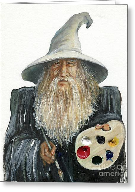 The Painting Wizard Greeting Card by J W Baker