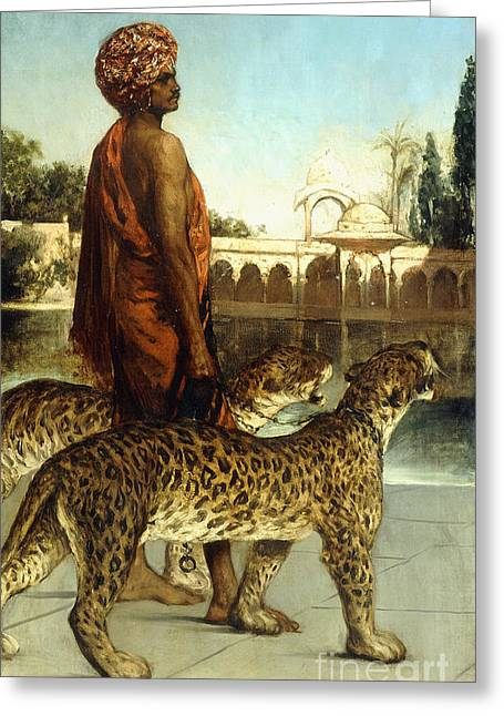 The Palace Guard With Two Leopards Greeting Card by Jean Joseph Benjamin Constant