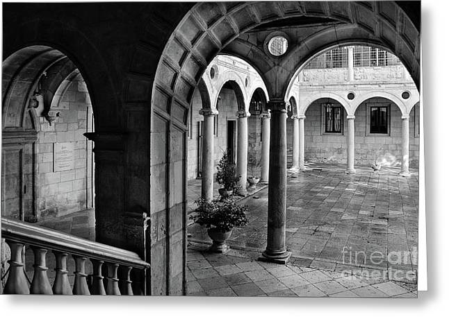 The Palace Of The Guzmanes Courtyard Greeting Card by RicardMN Photography