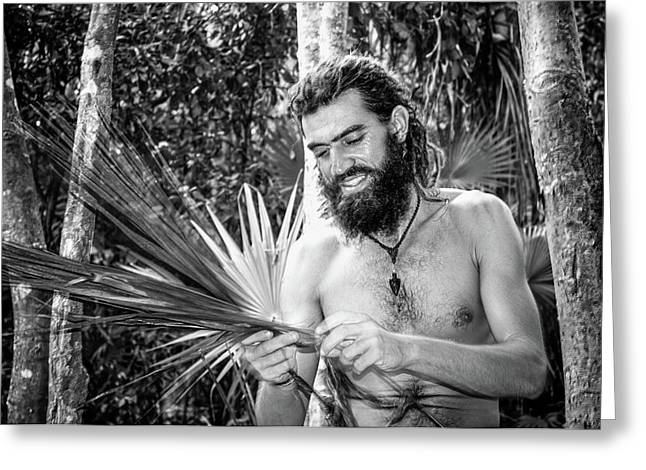 The Palm Frond Weaver Greeting Card by Marius Sipa