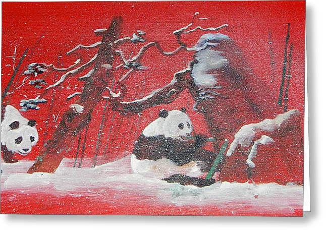 Greeting Card featuring the painting The Pandas Come On Red by Debbi Saccomanno Chan