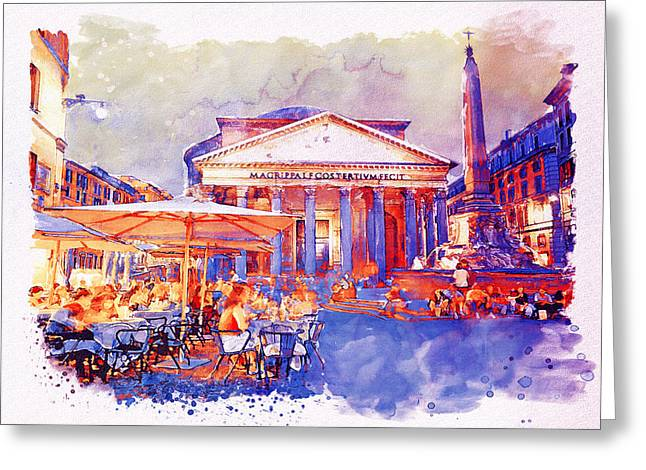 The Pantheon Rome Watercolor Streetscape Greeting Card