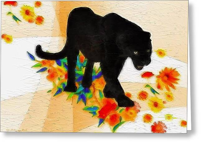The Panther In The Flowerbed Greeting Card