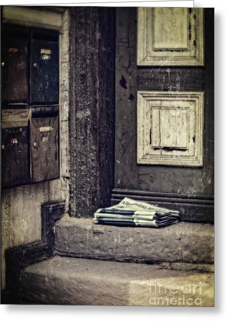 The Paper Boy Was There. Greeting Card