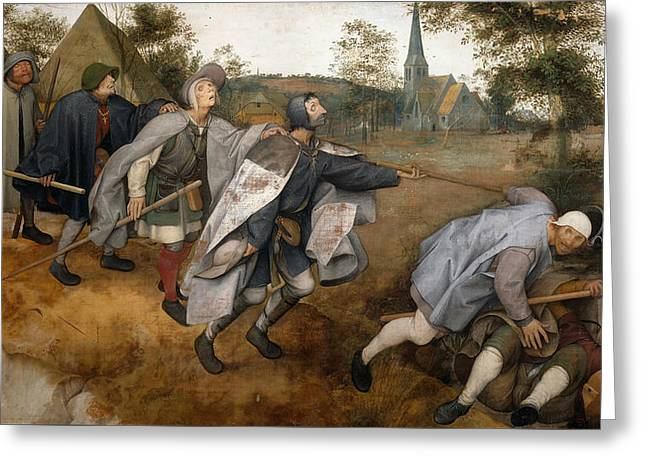 The Parable Of The Blind Greeting Card by Pieter Bruegel The Elder