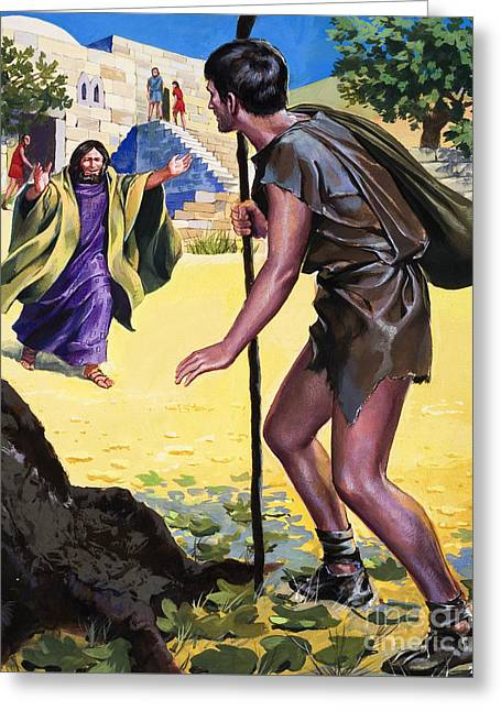 The Parable Of The Prodigal Son Greeting Card by English School