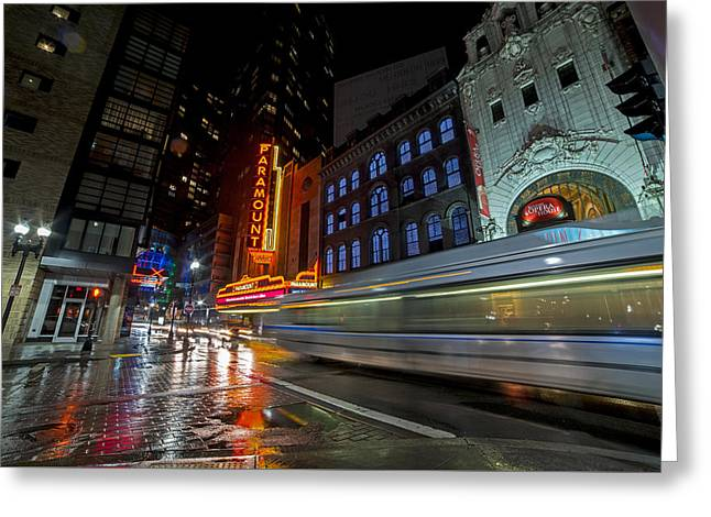 The Paramount On A Rainy Night Boston Ma Reflection Bus Greeting Card by Toby McGuire