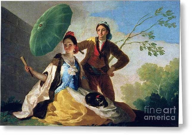 The Parasol Greeting Card by Goya