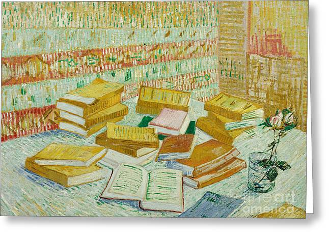 The Parisian Novels Or The Yellow Books Greeting Card by Vincent Van Gogh