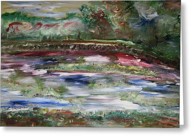 The Park Beneath The Rainbow Greeting Card by Edward Wolverton