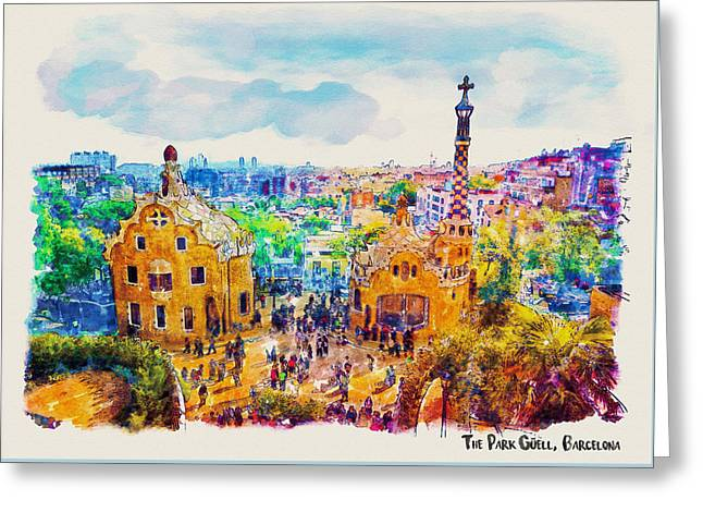 Park Guell Barcelona Greeting Card by Marian Voicu