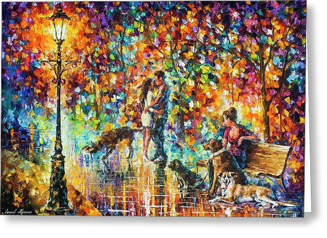 The Park Of Advanture  Greeting Card by Leonid Afremov