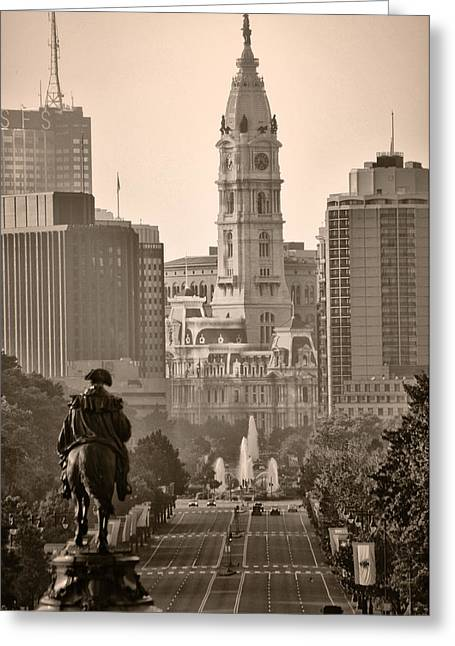 City Hall Greeting Cards - The Parkway in Sepia Greeting Card by Bill Cannon