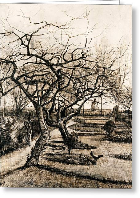 The Parsonage Garden At Nuenen In Winter Greeting Card