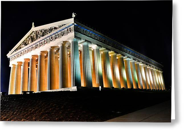 The Parthenon In Nashville Tennessee At Night 2 Greeting Card