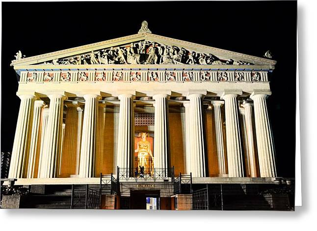 The Parthenon In Nashville Tennessee At Night  3 Greeting Card