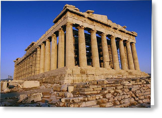 Athens Ruins Greeting Cards - The Parthenon, Its Ancient Colonnades Greeting Card by Todd Gipstein