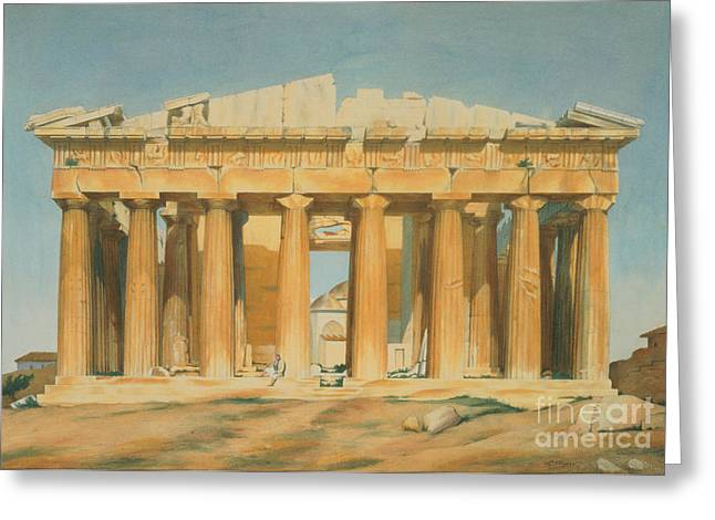On Paper Paintings Greeting Cards - The Parthenon Greeting Card by Louis Dupre