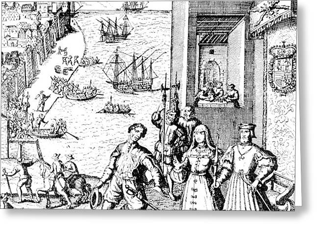 The Parting Of Columbus With Ferdinand And Isabella Greeting Card by Theodore de Bry