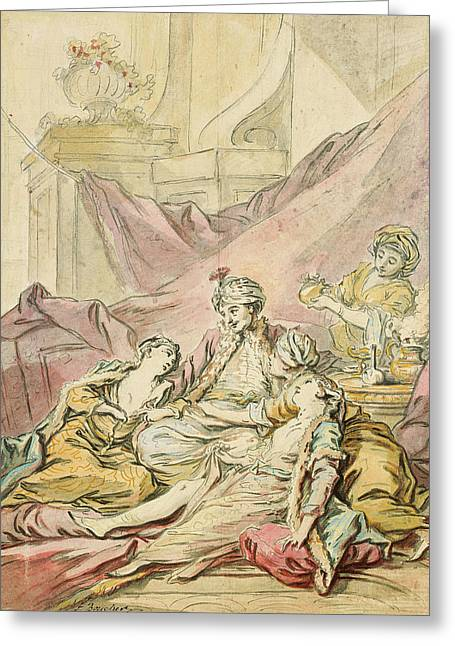 The Pasha In His Harem Greeting Card by Francois Boucher