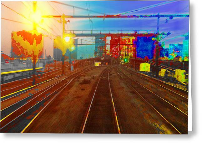 The Past Train 2 Square Greeting Card by Tony Rubino