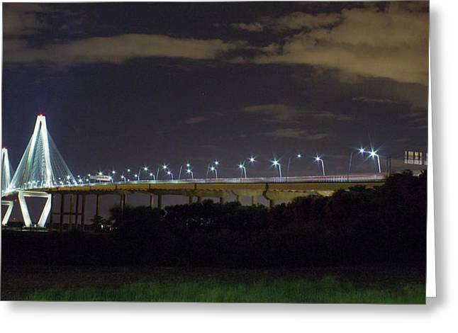 The Path Above The Ships Arthur Ravenel Jr Bridge Charleston South Carolina Greeting Card by Reid Callaway