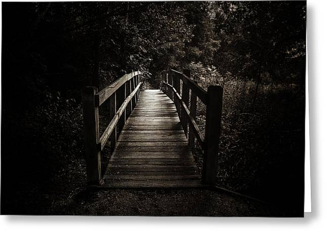 The Path Between Darkness And Light Greeting Card