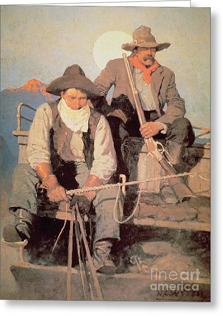 The Pay Stage Greeting Card by Newell Convers Wyeth