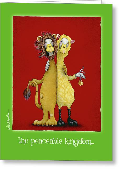 Greeting Card featuring the painting The Peaceable Kingdom... by Will Bullas