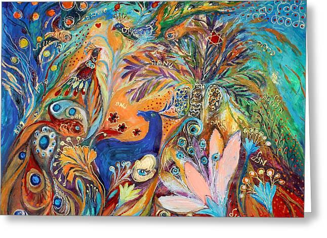 The Peacocks And Blue Deer Greeting Card by Elena Kotliarker