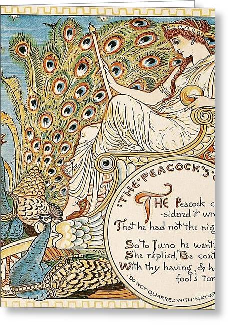 The Peacock's Complaint Greeting Card by Pg Reproductions