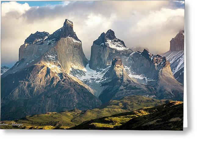 The Peaks At Sunrise Greeting Card by Andrew Matwijec