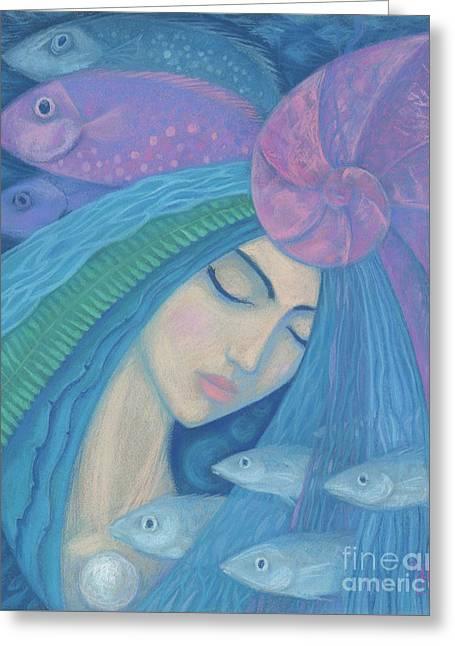 The Pearl Greeting Card by Julia Khoroshikh