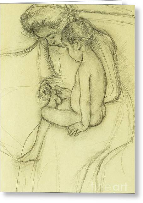 The Pedicure Greeting Card by Mary Stevenson Cassatt
