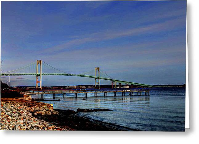 Greeting Card featuring the photograph The Pell Bridge Newport Ri by Tom Prendergast