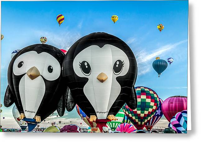Puddles And Splash - The Penguin Hot Air Balloons Greeting Card