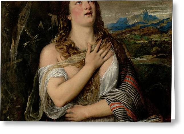 The Penitent Magdalene Greeting Card by Tiziano Vecellio