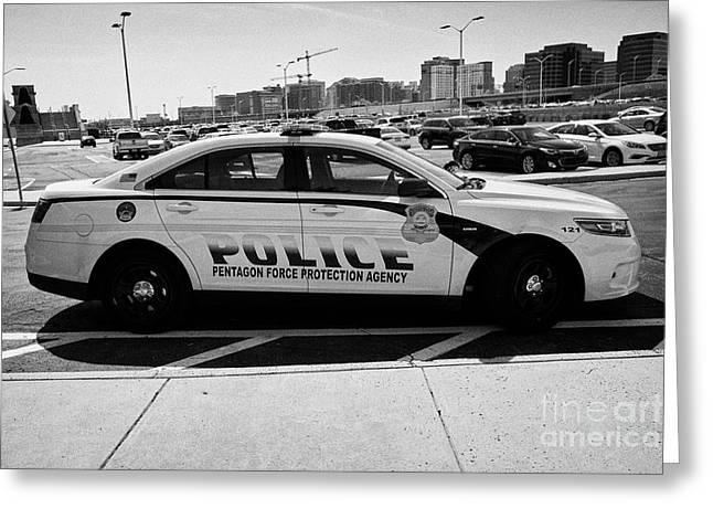 the Pentagon police force protection agency patrol car Washington DC USA Greeting Card