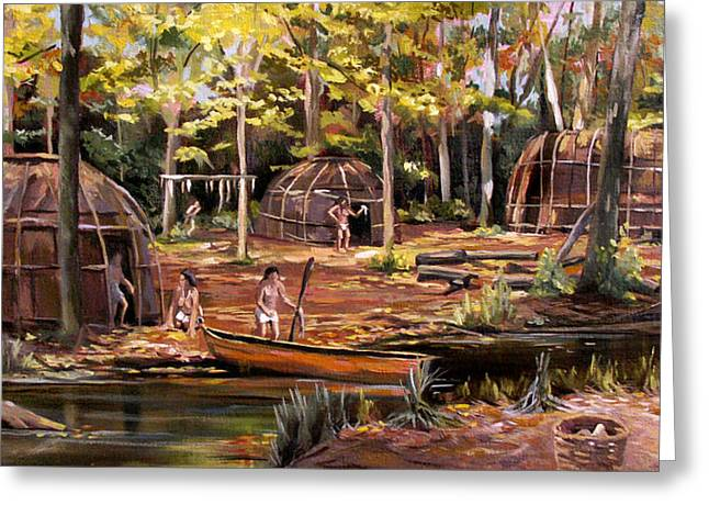Greeting Card featuring the painting The Pequots by Nancy Griswold