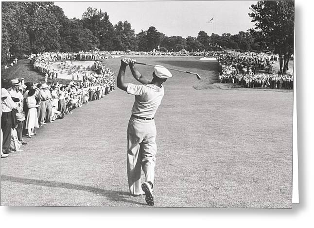 The Perfect Golf Swing Ben Hogan Golf Greeting Card by Peter Nowell